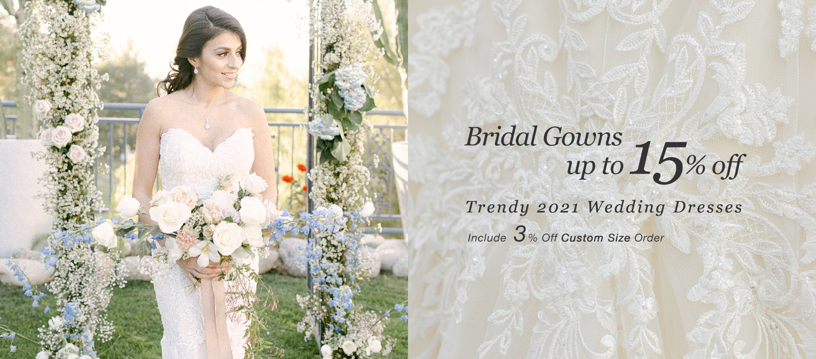 BRIDES 15%off (include 3% custom size order)